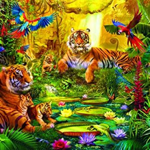 Buffalo Games – Signature Collection – Tiger Family in the Jungle – 1000 Piece Jigsaw Puzzle