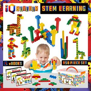 IQ BUILDER   STEM Building Block Learning Toys   Creative Construction Engineering   Fun Educational Building Toy Set for Boys and Girls Ages 3 and UP   Best Toy Gift for Kids   Top Blocks Game Kit